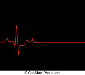 red flat lining heart rhythm on black background - death