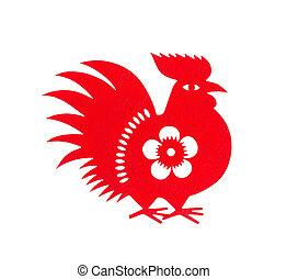 red flat paper-cut on white as a symbol of Chinese New Year of the Rooster 2017