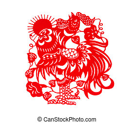 red flat paper-cut on white as a symbol of Chinese New Year of the Rooster with Sun 2017