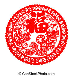red flat paper-cut on white as a symbol of Chinese New Year...