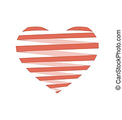 Red flat Spiral heart like origami isolated on white