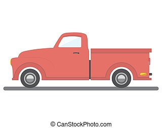 red flat style isolated cargo van car vector illustration transport pick-up auto icon