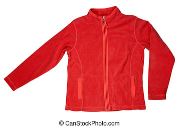 Red fleece jacket sports a white background