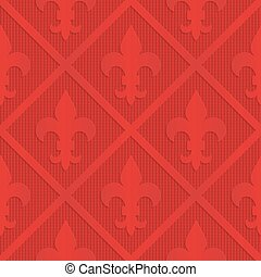 Red fleur de lis on checkered background