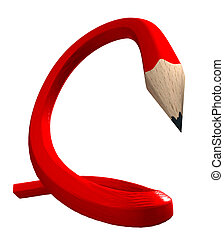 Red flexible pencil - Red wooden pencil twisted in an...