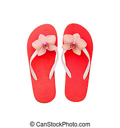 Red flip flops isolated on white. Top view and copy space