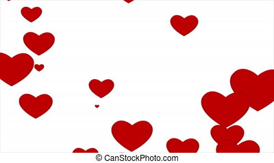 red floating hearts on a white background