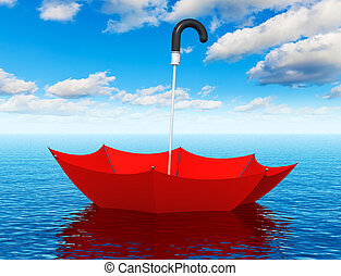 Red floating umbrella in the sea - Creative abstract help,...