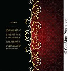 Red floral background. Vector illustration