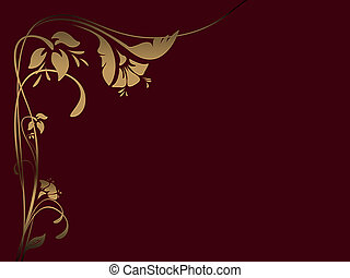 Red floral backgroundwith golden flowers illustration