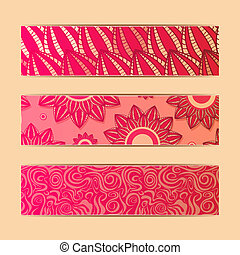 Red Floral Banner Card Set