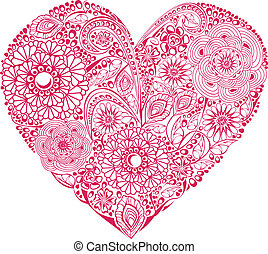Red floral heart on white backgroun