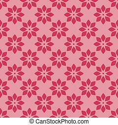 Red floral pattern on pink seamless design backdrop.
