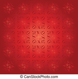 Red Floral Pattern Vintage Abstract