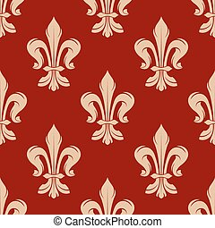 Red floral seamless pattern with fleur-de-lis
