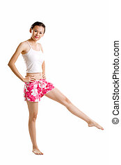 red floral short exercising young girl