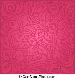 Red floral vector pattern wallpaper background