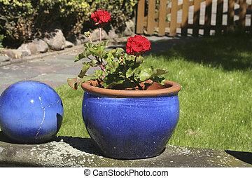 two art flower pots