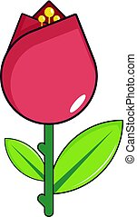 Red flower icon, cartoon style