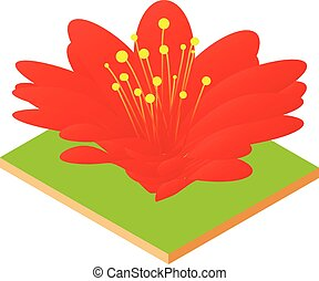 Red flower icon, isometric style