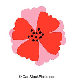 Red flower isolated on white background. Vector illustration