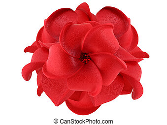 Red artificial flower isolated on white