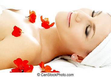 red flower petals spa #2 - beautiful lady with red flower...
