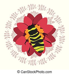 red flower with bee natural decoration round frame leaves