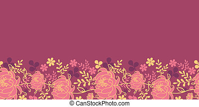 Red flowers and leaves horizontal seamless pattern border