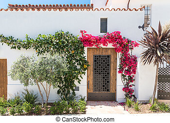 Red Flowers Around Door in Stucco Home