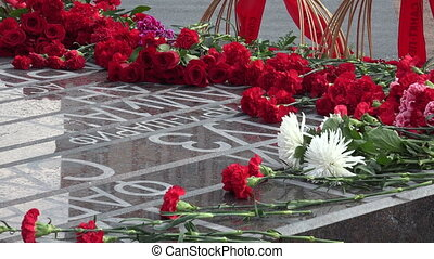 Red flowers at the monument. 4K. - Red flowers at the...