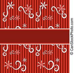 red flowers background with white leaves and banner