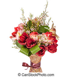 Red flowers bouquet isolated on white