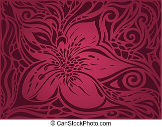Red Flowers, Gorgeous decorative Floral fashion background design