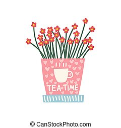 Red Flowers Growing in Cute Pink Pot, Design Element for Natural Home Interior Decoration Vector Illustration