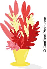 Red flowers, illustration, vector on white background.