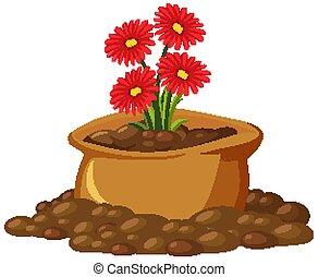 Red flowers in brown bag on white background