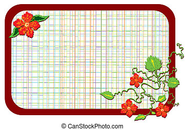 Red flowers in corner