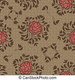red flowers on a brown background seamless vector ornamental pattern