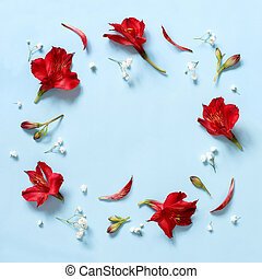 Red flowers on a light blue background