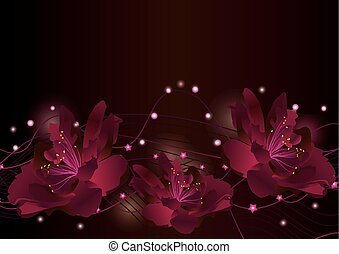 red flowers on dark background glowing border