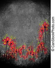 red flowers on dirty black and white background