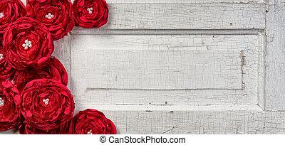 red flowers on vintage door