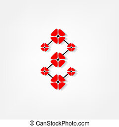 red flowers on white background