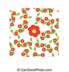 Red Flowers on white background.