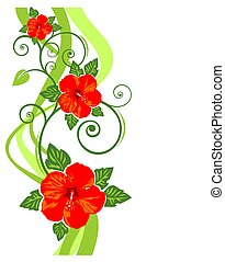 red flowers pattern - Pattern with red flowers and curves on...