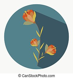 Red Flowers Twig Vector