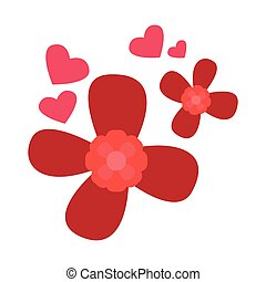 Red flowers with heart shapes