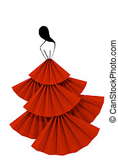 Red fluffy dress woman silhouette paper craft isolated 3D illustration