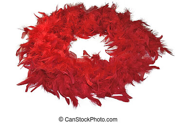 Red fluffy feather boa isolated on white background - Red...